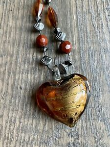 Brown Copper Glass Heart Necklace Fall Jewelry