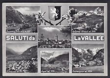 VALLE D'AOSTA 09 SALUTI da LA VALLÉE GRESSONEY COGNE Cartolina FOTOGR viag 1958