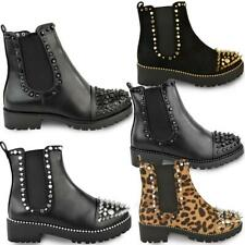 Womens Studded Stud Ankle Boots Spike Chunky Black Faux Leather Punk Goth Size