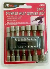 14pc Quick Change Power Nut Driver Set Hex Shank Metric SAE Standard Steel NEW