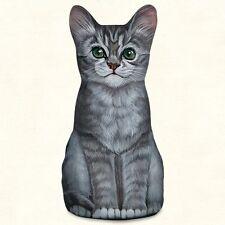 Gray Tabby Kitten Shaped Soft Sculpture Kitty Weight Desk/Tabletop/Shelf Decor