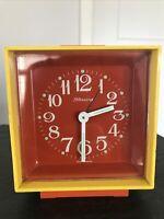 Vintage Alarm Clock German Mod Pop Art Cube Bright Plastic Blessing Glow Dark