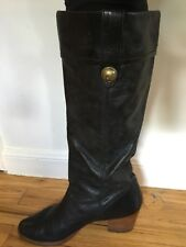 Coach Tall Black Leather Wife Calf Fayth Women's Boots Size 9.5B