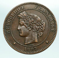 1897 FRANCE Fertility Goddess Ceres OLD Antique 10 Centimes French Coin i84243