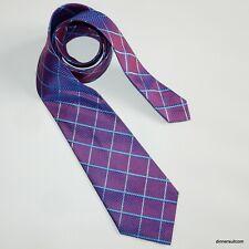 Ozwald Boateng Silk Tie Necktie Purple tonic with blue window pane 9cm
