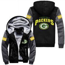 NFL Green Bay Packers Fans Men's Thicken Hoodie Winter Warm Coat Jacket Sweater