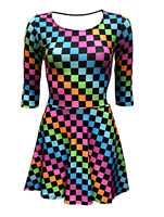 Women's Funky Multi Check Squares Checkerboard Checker 3/4 Sleeve Skater Dress