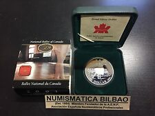 CANADA 1 DOLLAR 2001 NATIONAL BALLET OF CANADA KM.414 SILVER PROOF COIN BOX COA