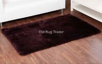 Balotelli Soft Shaggy Rug Chocolate Aubergine Mix in Various Sizes and Circle
