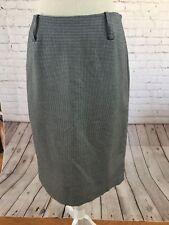 Anne Klein Skirt Size 8 Black White Check Straight Side Zip Back Slit Great Cond