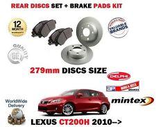 FOR LEXUS CT200H 1.8 HYBRID 2010-> REAR BRAKE DISCS 279mm SET + DISC PADS KIT