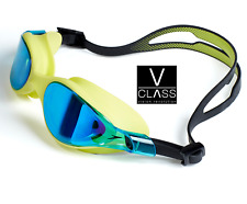 SPEEDO V-Class Vue Specchio Nuoto Occhiali Lime/Blu Elite Training Palestra Swim