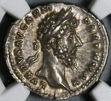 167 NGC Ch AU Lucius Verus Roman Empire Denarius Victory Marcus (20092604C)