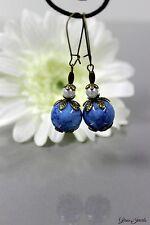Glass Jewels Bronze Ohrringe Ohrhänger Vintage Perlen Blau Weiß  #I004