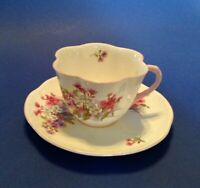 Shelley Dainty Teacup And Saucer - Stocks Pattern - Pink Handle & Rims - England