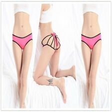 1223 - Pink & Black Big Bow Open Bum Low Rise Knickers Panties Underwear Sz 10