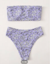Floral Bandeau High Waisted Bikini Swimsuit lilac Ditsy Size M Medium