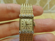 Vintage antique Omega Tiffany & Co 14k yellow gold diamond watch woven bracelet