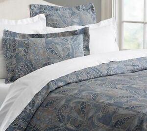 Pottery Barn Duvet Cover - Leanne Denim Blue & Tan Paisley - King - Linen Blend