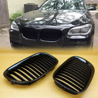 GLOSS BLACK FRONT KIDNEY GRILLE FOR BMW F01 F02 7-SERIES 730d 740i 750i 2009-15