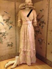 Beautiful Antique Edwardian Faded Grandeur Lace, Pink Silk, Velvet Dress Gown