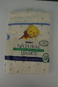Vintage Dundee Receiving Blankets Set of 2 NEW Natural Basics Bear Bunny USA