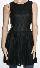 CLUB L Designer Black Lace Sleeveless Skater Dress Size 12-M BNWT [ss04]