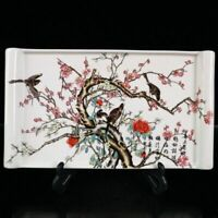China old porcelain A square plate with patterns on the top of a happy eyebrow