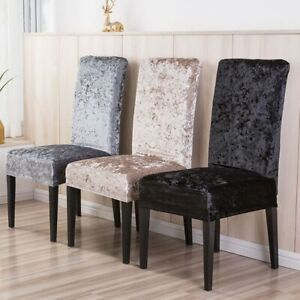 1/2/4/6 Pieces Velvet Shiny Fabric Chair Covers Universal Size Stretch 2021