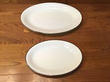 2 Vintage Noritake SILVERDALE 5594 Serving Platters White & Platinum Trim