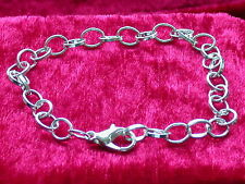 Armband, Gliederarmband mit Karabiner Verschluss 20 cm Versilbert Bettelarmband