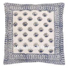 """20"""" Hand Block Print Cushion Cover Ethnic Pillowcase Cotton Cushion Case Sofa"""