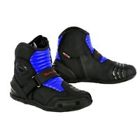 Men's Motorcycle Short Ankle Leather Boots Waterproof Touring Adventure Shoes UK