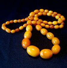 real alte Art Deco Bernsteinkette Butterscotch Oliven real old amber / CP 412