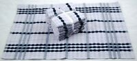 Silver Grey and Black Kitchen Terry Tea Towels 100% Cotton with Ribbon Pack of 5