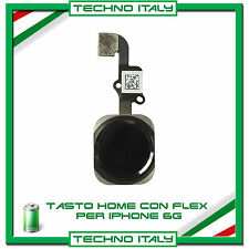 TASTO CENTRALE HOME BUTTON COMPLETO FLAT FLEX PER IPHONE 6 NERO