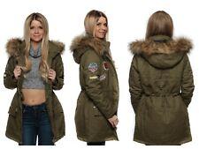 Damen Winterjacke Mantel Outdoor Patch Parka Fellkapuze Kunstpelz warm MX15748