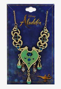 Disney Aladdin Jasmine Live Action Movie Replica Gold Tone & Gems Necklace NWT!