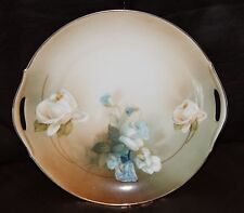 """Hand Painted RS Germany 9 1/2"""" Pierced Handle Serving Plate Blue Flowers"""