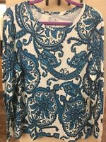 NWT WOMEN'S SIZE 2X 1X SHIRT PLUS LONG SLEEVE PAISLEY T-SHIRT  JOHN'S BAY JC109