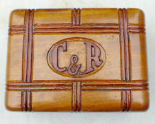 Antique Monogrammed Wood Alhambra Cigar Box Mahogany Philippines c. 1930 Label