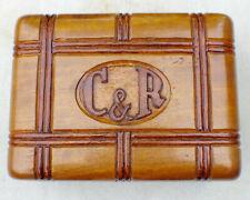Antique Monogrammed Wood Alhambra Cigar Box Mahogany Philippines c. 1930 Label