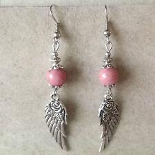 bijou amérindien Boucles d'oreilles fleur gravée sur aile d'ange-perle rhodonite