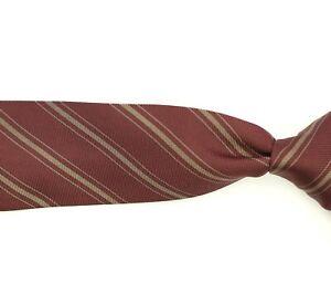 Kiton Napoli 100% Silk Neck Tie Made in Italy Brownish Red w/Gray Stripes