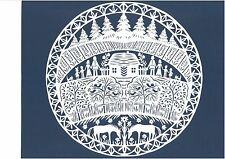 """Original Papercut """"In Lithuanian Countryside"""" by Lithuanian Traditional Artist"""