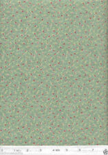 Cinnamon Girl Tiny Rose Buds Teal Quilt Fabric - Free Shipping - 1 Yard