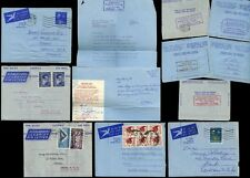SOUTH AFRICA 1957-65 AIRLETTERS STAMP DEALER ROBERTSON...5 ITEMS DIFF FRANKINGS