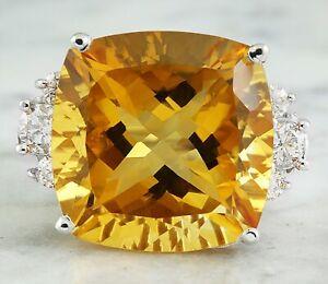 25.60 Carat Natural Citrine 14K Solid White Gold Diamond Ring