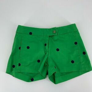 J.Crew Womens City Fit Shorts Size 00 Green Navy Polka Dot Chino Casual Cotton
