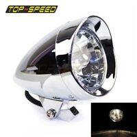 Chrome 12V LED Round Headlight Head Lamp For Harley Chopper TRI XS650 Bobber New